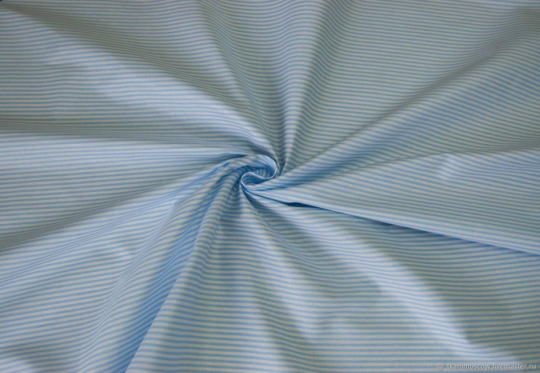 Хлопок Россия полоска голубая, Ткани, Москва,  Фото №1