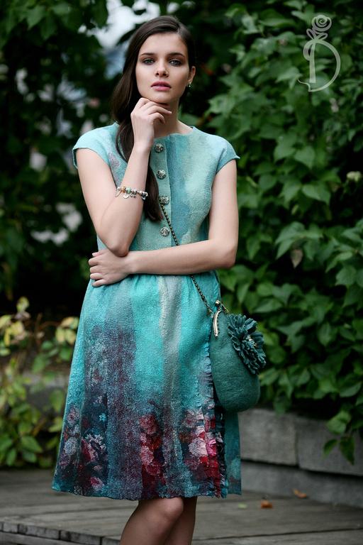 Платья ручной работы. Ярмарка Мастеров - ручная работа. Купить Валяное платье «Чай с мятой». Handmade. Нежность, мята