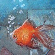 Для дома и интерьера ручной работы. Ярмарка Мастеров - ручная работа Досочка,,Мечты кошки о золотой рыбке,. Handmade.