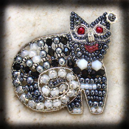 Броши ручной работы. Ярмарка Мастеров - ручная работа. Купить Брошка - кошка №1. Handmade. Серый, черный, кот, кошка