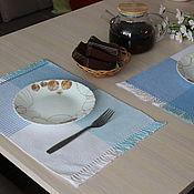 Для дома и интерьера handmade. Livemaster - original item Set of homespun table napkins blue set. Handmade.
