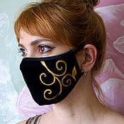 Аксессуары handmade. Livemaster - original item Protective face mask, black reusable hygienic mask. Handmade.