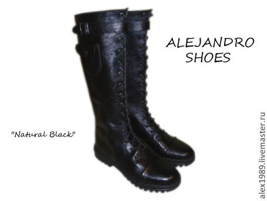 """Обувь ручной работы. Ярмарка Мастеров - ручная работа. Купить Женские сапоги  """"Natural Black"""". Handmade. Черный, женская обувь"""