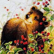 """Картины ручной работы. Ярмарка Мастеров - ручная работа Картина маслом """"Малиновый медвежонок"""".. Handmade."""