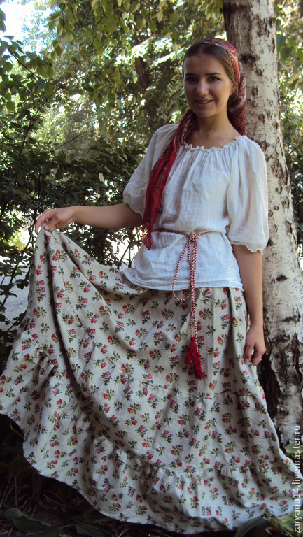 """Юбки ручной работы. Ярмарка Мастеров - ручная работа. Купить юбка """"Цветы на небеленом"""". Handmade. Цветочный, юбка-полусолнце"""