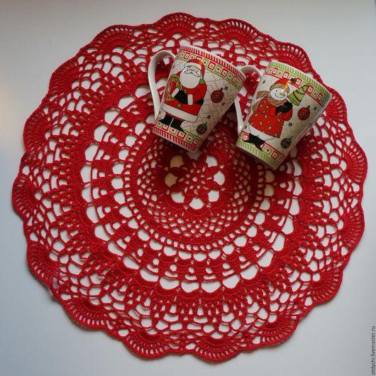 Текстиль, ковры ручной работы. Ярмарка Мастеров - ручная работа. Купить Салфетка  НАРЯДНАЯ. Handmade. Ярко-красный, ажурная салфетка