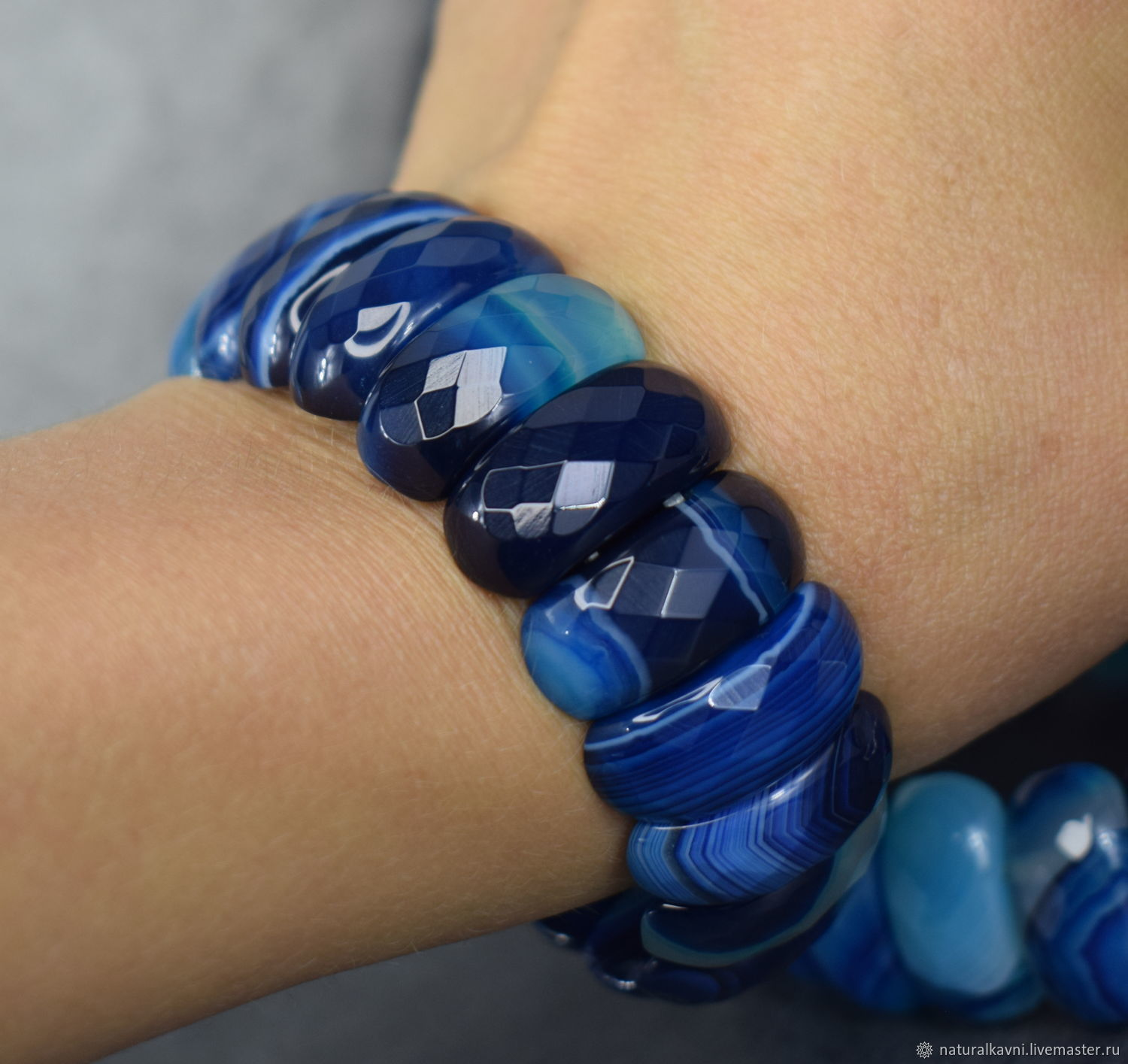 Bright bracelet with natural blue agate cut, Bead bracelet, Moscow,  Фото №1