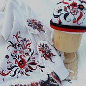 """Аксессуары ручной работы. Ярмарка Мастеров - ручная работа Комплект """"Пламя на снегу"""". Handmade."""