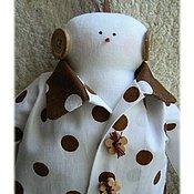 Куклы и игрушки ручной работы. Ярмарка Мастеров - ручная работа Снеговик в стиле Тильда, коричневый в горошек, новый год 2016. Handmade.