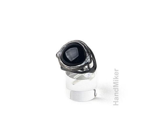 """Кольца ручной работы. Ярмарка Мастеров - ручная работа. Купить Перстень """"Вороний глаз"""". Handmade. Чёрно-белый, амулет, серебро"""