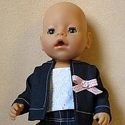Куклы и игрушки ручной работы. Ярмарка Мастеров - ручная работа Джинсовый костюм для куклы. Handmade.