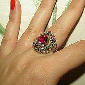 Украшения ручной работы. Ярмарка Мастеров - ручная работа Изысканное кольцо из серебра 925 пробы с розовым турмалином цирконами. Handmade.