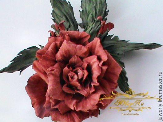 """Броши ручной работы. Ярмарка Мастеров - ручная работа. Купить Брошь из кожи Украшение из кожи """"Оранжевая роза"""" Цветы из кожи. Handmade."""