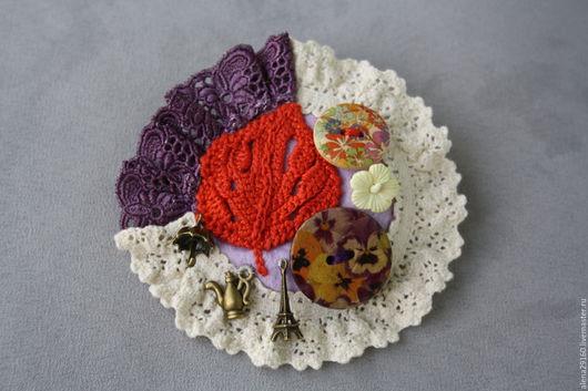 Броши ручной работы. Ярмарка Мастеров - ручная работа. Купить Брошь текстильная Осень в Париже. Handmade. Разноцветный, брошь на пальто