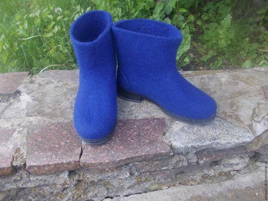 Обувь ручной работы. Ярмарка Мастеров - ручная работа. Купить Ботинки женские. Handmade. Синий, сапоги валяные, ботинки валяные