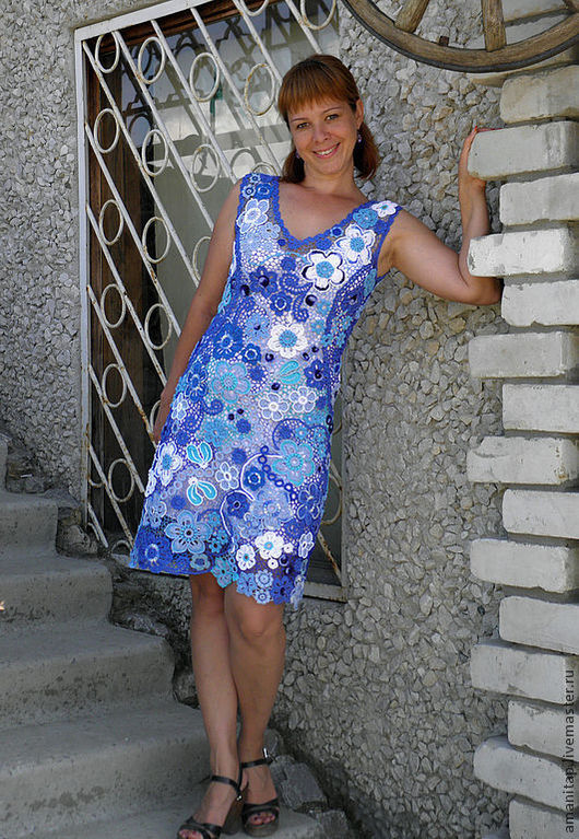 Dresses handmade. Livemaster - handmade. Buy Dress aquamarine Irish lace.Crochet, knit dress, the author's work