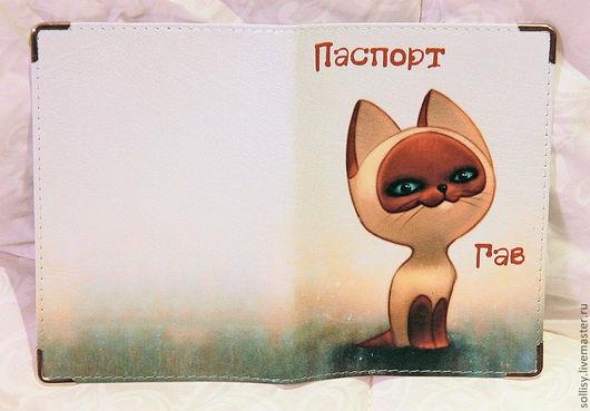 """Обложки ручной работы. Ярмарка Мастеров - ручная работа. Купить обложка """"Котёнок Гав"""" (кожа). Handmade. Кот, обложка на паспорт"""