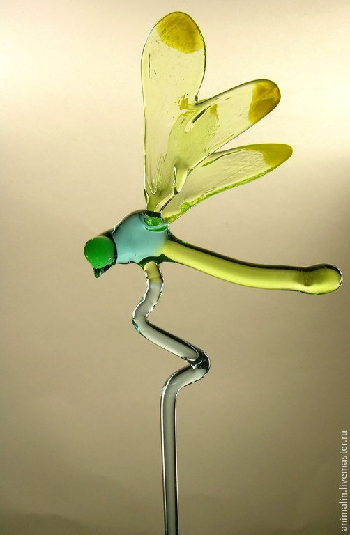 Decoration for potted plants, glass figurine Dragonfly, Decoration for flower pots, Moscow,  Фото №1