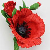 Украшения handmade. Livemaster - original item Poppy red brooch, boutonniere for wedding. polymer clay.. Handmade.