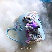 Год Крысы ручной работы. Ярмарка Мастеров - ручная работа Кружка с декором зимним мишкой Тедди подарок любимой. Handmade.