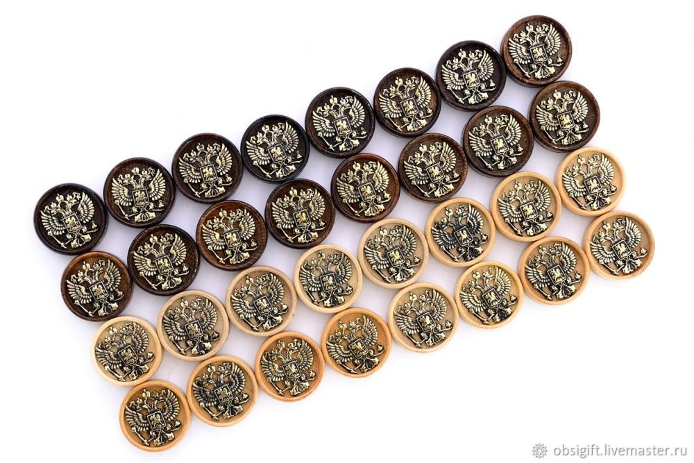 Set of backgammon chips 'Coat of arms of the Russian Federation' with bronze, 29 mm, Harutyunyan, Chips and dice, St. Petersburg,  Фото №1