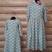Одежда ручной работы. Ярмарка Мастеров - ручная работа Платье Зеленый орнамент Хлопок 100%. Handmade.