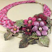 Украшения handmade. Livemaster - original item Floral Burgundy Etude. necklace and brooch made of genuine leather. Handmade.