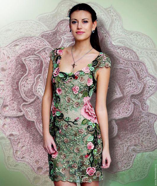 """Платья ручной работы. Ярмарка Мастеров - ручная работа. Купить Платье """"Эдем"""". Handmade. Комбинированный, вечернее платье, хлопок итальянский"""