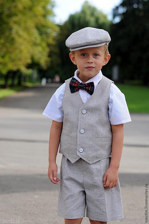 Одежда для мальчиков, ручной работы. Ярмарка Мастеров - ручная работа. Купить Льняной нарядный комплект: кепка, жилетка и шорты. Handmade.