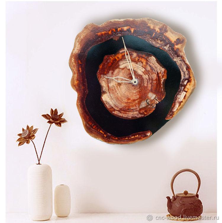 Часы из спила абрикоса и смолы, Часы классические, Солнечногорск,  Фото №1