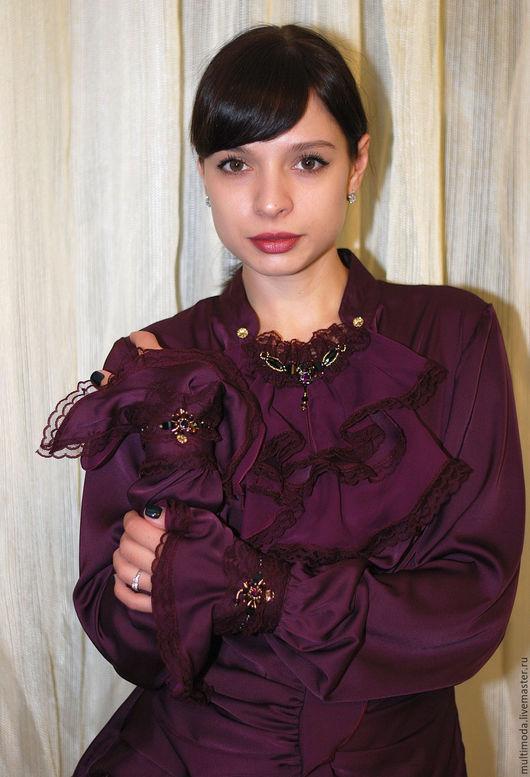 Блузки ручной работы. Ярмарка Мастеров - ручная работа. Купить Блузка ..Бордо..шелковая. Handmade. Бордовый, шёлк