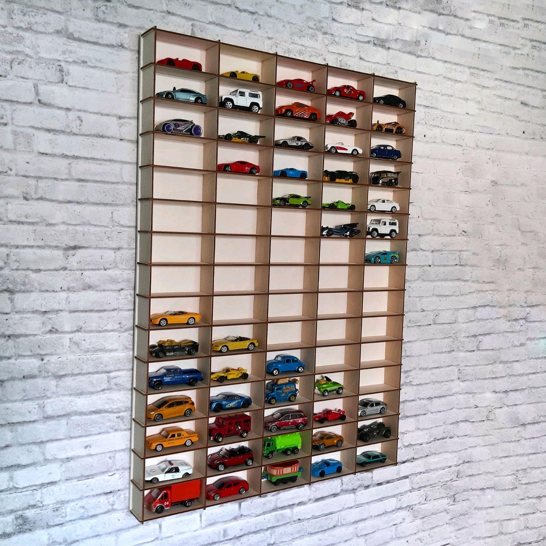 Полка витрина для коллекции машинок Hot Wheels на 75 ячеек, Хранение вещей, Сергиев Посад,  Фото №1