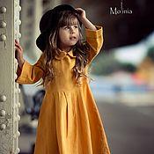Платья ручной работы. Ярмарка Мастеров - ручная работа Платье для девочки льняное Бетти горчичное цвет горчица. Handmade.