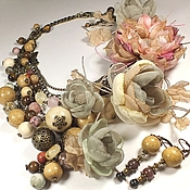 Украшения handmade. Livemaster - original item Shades short day. Two necklace, earrings, three brooches - fabric flower.. Handmade.