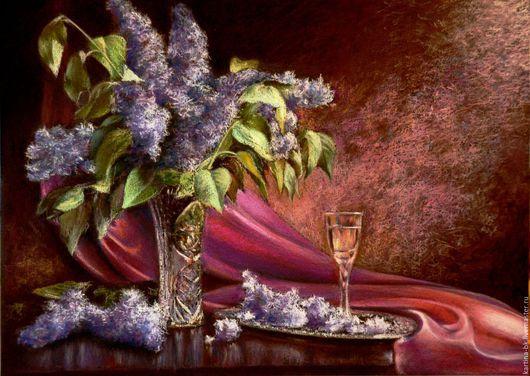 Натюрморт ручной работы. Ярмарка Мастеров - ручная работа. Купить Сирень в стеклянной вазе. Handmade. Сирень, рюмка вина
