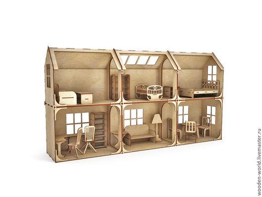 Декупаж и роспись ручной работы. Ярмарка Мастеров - ручная работа. Купить Модульный Кукольный домик 2 этажа 6 комнат (без мебели). Handmade.