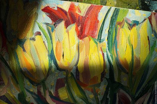 Анна Крюкова (impression-живопись) Тюльпаны картина Яркие тюльпаны маслом Яркий букет  Тюльпаны тюльпан
