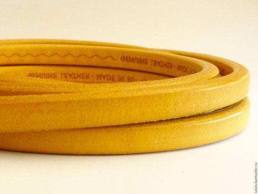 Для украшений ручной работы. Ярмарка Мастеров - ручная работа. Купить Шнур Регализ 10х6мм горчичный. Handmade. Кожаный шнур