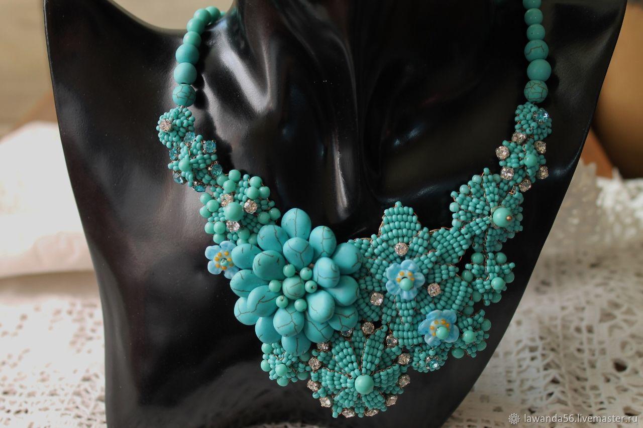 Necklace of beads and rhinestones Turquoise, Necklace, Krasnoyarsk,  Фото №1