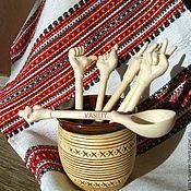 """Посуда ручной работы. Ярмарка Мастеров - ручная работа Набор ложек """"Язык жестов"""" 6 шт. деревянные резные. Handmade."""