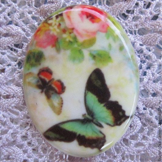 Для украшений ручной работы. Ярмарка Мастеров - ручная работа. Купить Кабошон Мятные бабочки 30х40мм, фарфор. Handmade. Камея