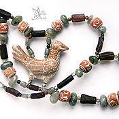 """""""Гамаюн"""" ожерелье. Керамика, римское стекло, лабрадорит"""