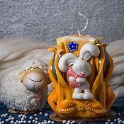 Сувениры и подарки ручной работы. Ярмарка Мастеров - ручная работа Резная свеча с зайцем. Для детишек.. Handmade.