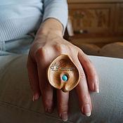 Украшения ручной работы. Ярмарка Мастеров - ручная работа Кольцо с бирюзой деревянное Морская капля. Handmade.