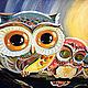 Animal Painting handmade. Order Owlets, oil painting. Belasla. Livemaster. Green, night, oil painting, dark blue