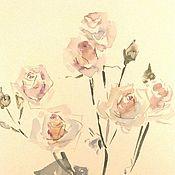Картины ручной работы. Ярмарка Мастеров - ручная работа Веточка белых роз. Картина акварелью. Handmade.