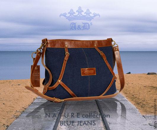 Женские сумки ручной работы. Ярмарка Мастеров - ручная работа. Купить Сумка Nature Blue Jeans. Handmade. Тёмно-синий