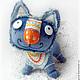 Игрушки животные, ручной работы. Синий кот Нарядный II. СИНИЙ КОТ интерьерные игрушки. Интернет-магазин Ярмарка Мастеров.