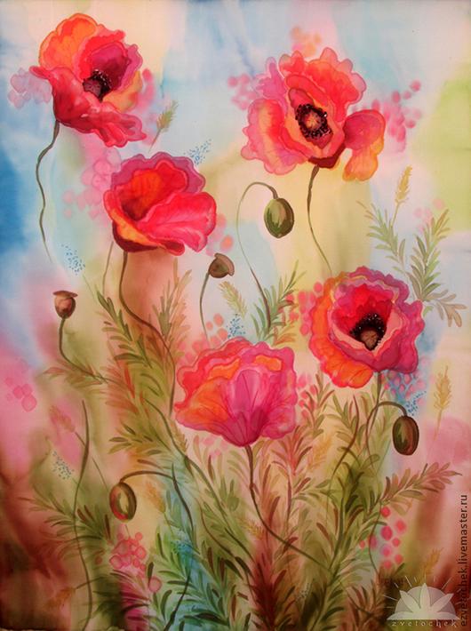Картины цветов ручной работы. Ярмарка Мастеров - ручная работа. Купить Счастье внутри. Handmade. Ярко-красный, батик панно