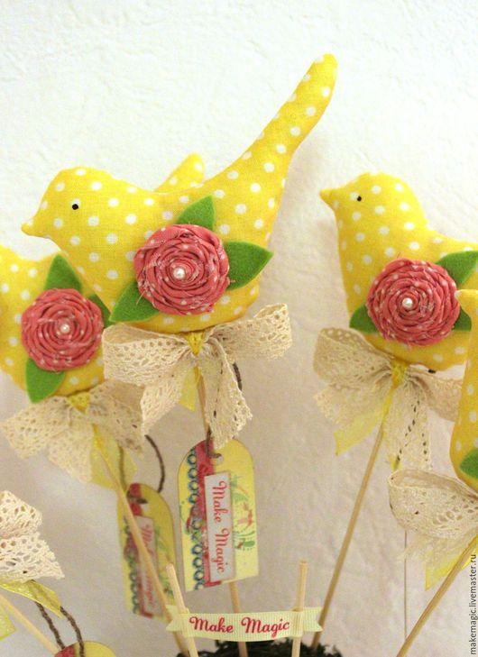 Украшения для цветов ручной работы. Ярмарка Мастеров - ручная работа. Купить Птица интерьерная. Handmade. Комбинированный, цветочный горшок, жёлтый